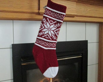 READY TO SHIP Crimson Red and White Knit Christmas Stocking