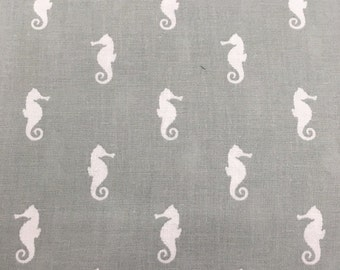 Sale - Grey Seahorses - Quilting Cotton Fabric - BTY