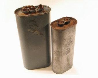 Pr Large Vintage Used Capacitors - Industrial Decor - Steampunk Hardware