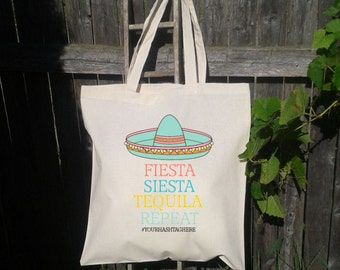 Personalized Wedding tote bag, Bachelorette Tote Bag, Sombrero Fiesta, Siesta Tequila Repeat - Personalized for FREE