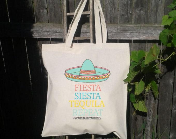 Bachelorette Tote Bag, Sombrero Fiesta, Siesta, Tequila,Repeat - Personalized for FREE