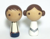 Mini Kokeshi Kawaii Princesss & her Nerfherder Star Wars (R) Wood Doll Cake Topper