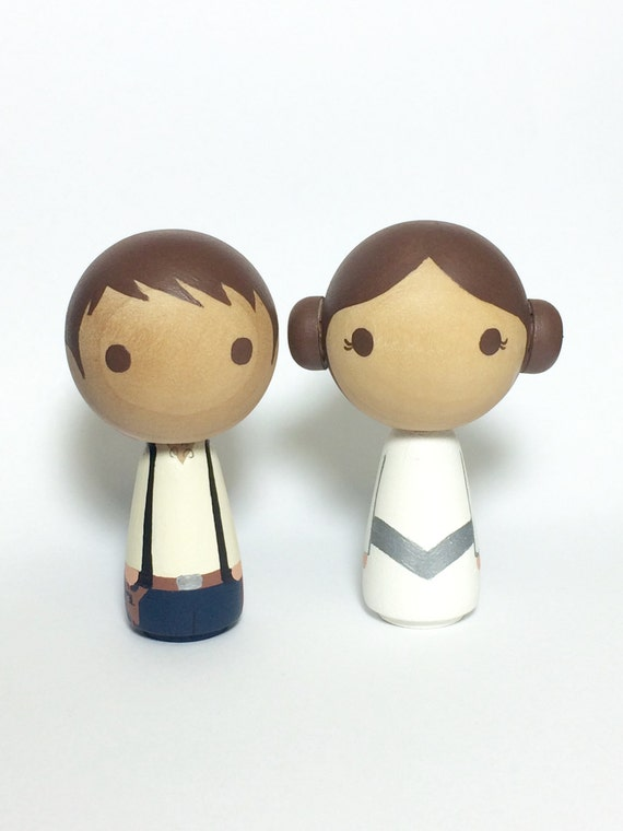 Mini Kokeshi Kawaii Princesss & her Nerfherder Star Wars (R) Wood Doll Cake Topper