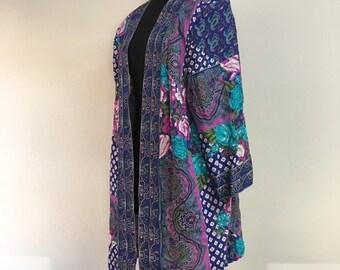 60% OFF Vintage 1980s Blue Purple Floral Open Front Kimono Tracy Richard OS (k)