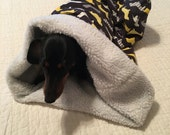 Small Dog / Dachshund Gray and Yellow with Doxies Print Snuggle Sack / Sleeping Bag FREE SHIPPING within the US