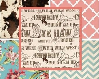 Shabby Chic Western Crib Bedding, Modern Western Nursery, Cow Print Bumper, Girly Western Skirt, Country Chic Nursery, Pink and Brown