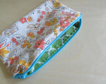 Vintage floral handsewn zip pouch