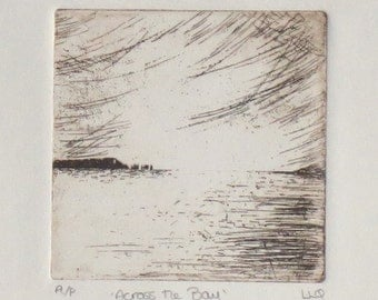 Original etching coastal ocean across the bay seascape