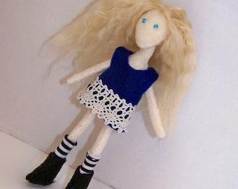 Priddy Plane Jain 06 - 4.75inch (12cm) felt doll with blonde brushed yarn hair & removable dress