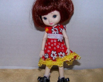 Handmade Amelia Thimble clothes - red dress with yellow and white trim - Clearance