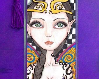Fantasy art bookmark, big eyes, Fancy fairy, big eyed beauty, faerie, fae, purple
