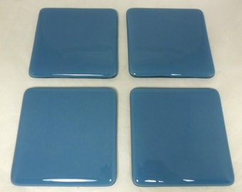 Fused Glass Coasters with Cool Cobalt Blue - set of 4 MTO