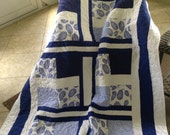 "Ocean Lap Quilt -Royal Blue/White - 54"" x 78.5"" - Timeless Treasures,This 'N That, Botanics, Ocean - Contemporary/Modern - Ready to Ship"