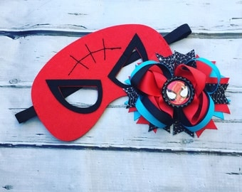 Girls Layered Spiderman Hair Bow and Mask Spiderman Hair Clip and Felt Mask superhero hair bow and mask set Spiderman hair bow and mask set