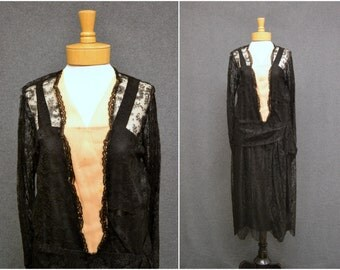 1920s Black Lace Drop Waist Dress