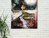 Mixed Media Art - Surreal Painting- Woman swinging on moon  - Mixed Media Winter Painting - Tall painting