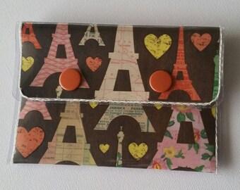 Cash/Card Wallet - Eifel Tower/Walla Wallat, Paris, hearts, yellow, brown, red, France, pink, card and cash case, vinyl wallet, snap wallet