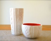 Ceramic Cable Knit Sweater Vase and Bowl Home Decor Home Accesories