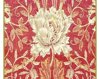 NOW on SALE White Tulip in Redtones Counted Cross Stitch Chart -  William Morris design in the Arts and Crafts Style