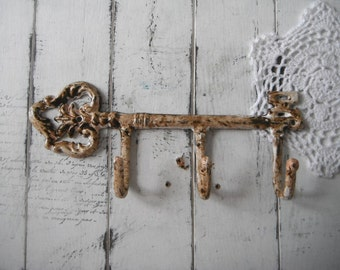 key hook cottage chic aged look french country chippy hook wall hook distressed hook coat hook rustic wall decor leash hook scarf hook