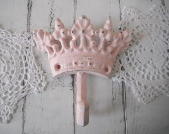 pink crown hook nursery decor wall hook french country clothing hook bedroom decor light pink cottage chic large crown hook cottage decor