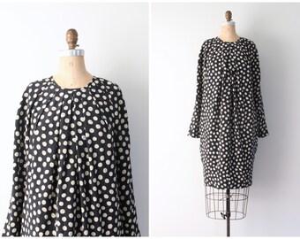 vintage 80s silk cocoon dress - polka dot pierrot dress / Albert Nipon Boutique - black & cream silk dress / 80s designer dress