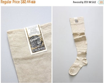 20% SALE NOS 1920s flapper back seam stockings - seamed with french heel / natural cotton OTK socks - vintage ladies hosiery / antique 20s s