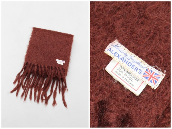 mid century english mohair & wool scarf / Alexander's . England - brown mohair scarf / vintage 60s mohair scarf - 50s trad