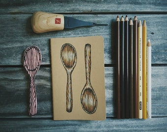 Wooden Spoon Moleskine Notebook Journal Handcarved Carved Hand Colored Carved Blockprint Kitchen Cook Recipe Gift Present