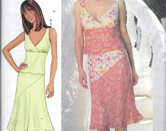 Butterick 3149 Nicole Miller Top, Skirt, 2-Pc Dress, Sewing Pattern Size 6, 8 and 10 Sleeveless