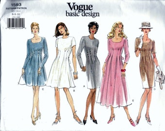 Vogue 1593 Basic Design Misses Flared Dress Sewing Pattern Sizes 6, 8 And 10