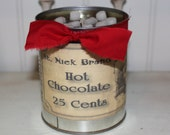 Vanilla Hazelnut Cocoa Scented Primitive Christmas Can Candle - Vintage St. Nick Hot Chocolate 29 oz