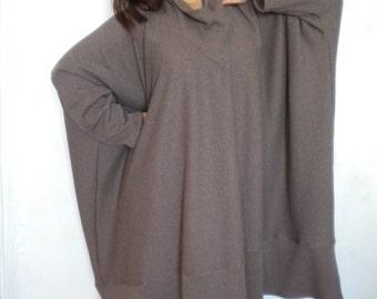 oversize tunic sweater cowl neck plus size long sleeve boxy