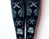 Silver on Navy Blue M L Tall Nautical Sailor Lolita Tights Pirate Narwhal Tights Printed Medium Large Tall Womens Thick