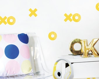 Xoxo Wall Decal Yellow Décor in Kids Room Fabric Wall Decal Hugs and Kisses Children Décor Modern Kids Room Wall Decor. Xoxo Wall Decal