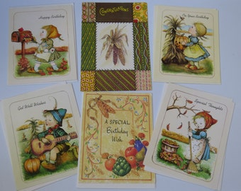 Vintage lot Fall Themed Greeting Cards Little Children Animals