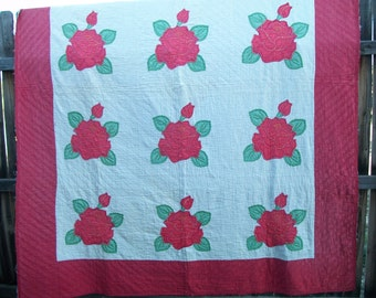 Vintage Red and White Quilt, Roses, Cutter