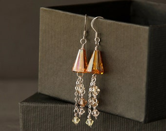 Sterling silver wire wrapped crystal earrings. Swarovski crystal dangly tangerine and earth toned sterling silver earrings. Silver jewelry.