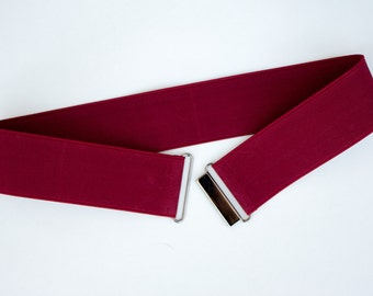 Sample sale - Size small red wine cinch belt with gunmetal clasp