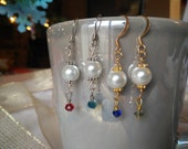 Glass Pearl Earrings with Crystal Accent