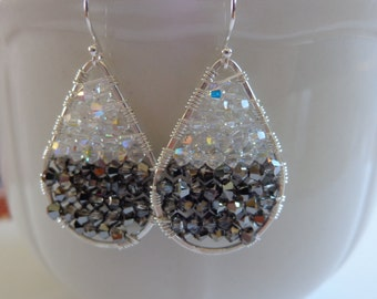 Swarovski crystal wire wrapped hoop earrings pear shape black white grey sterling silver