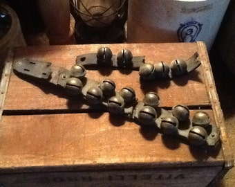 Antique Brass Sleigh Bells Leather Strap Double Row Unique 100+ years old