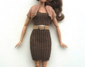Three-piece Barbie Outfit. Brown Knitted Dress with Bolero and Belt and Buckle. Stretchy Form-fitting Dress. Liv Dolls. Fashion Dolls. OOAK