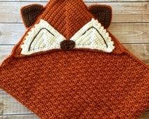 Little Mr. Fox Baby Blanket/Hooded Fox Blanket/Hooded Baby Blanket/Crochet Baby Blanket/Crib Blanket/Stroller Blanket- MADE TO ORDER