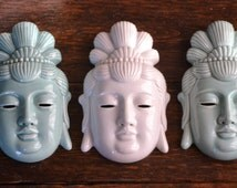 Three Ceramic Wall Face Mask / Vintage Made in Japan