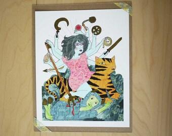 Durga Slaying the Buffalo Demon - Giclee Print on Rag Paper