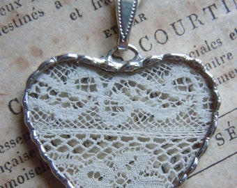 Fiona & The Fig -  Antique Victorian - French  Lace- Charm - Necklace - Pendant - Jewelry
