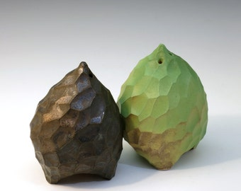 Green and bronze porcelain salt & pepper shakers