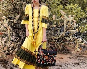 1970s Vintage Handmade Aztec Maxi Dress