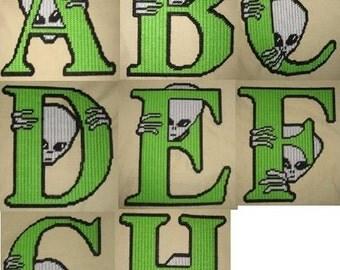 Complete set of Alien letters 26 Plastic Canvas Patterns